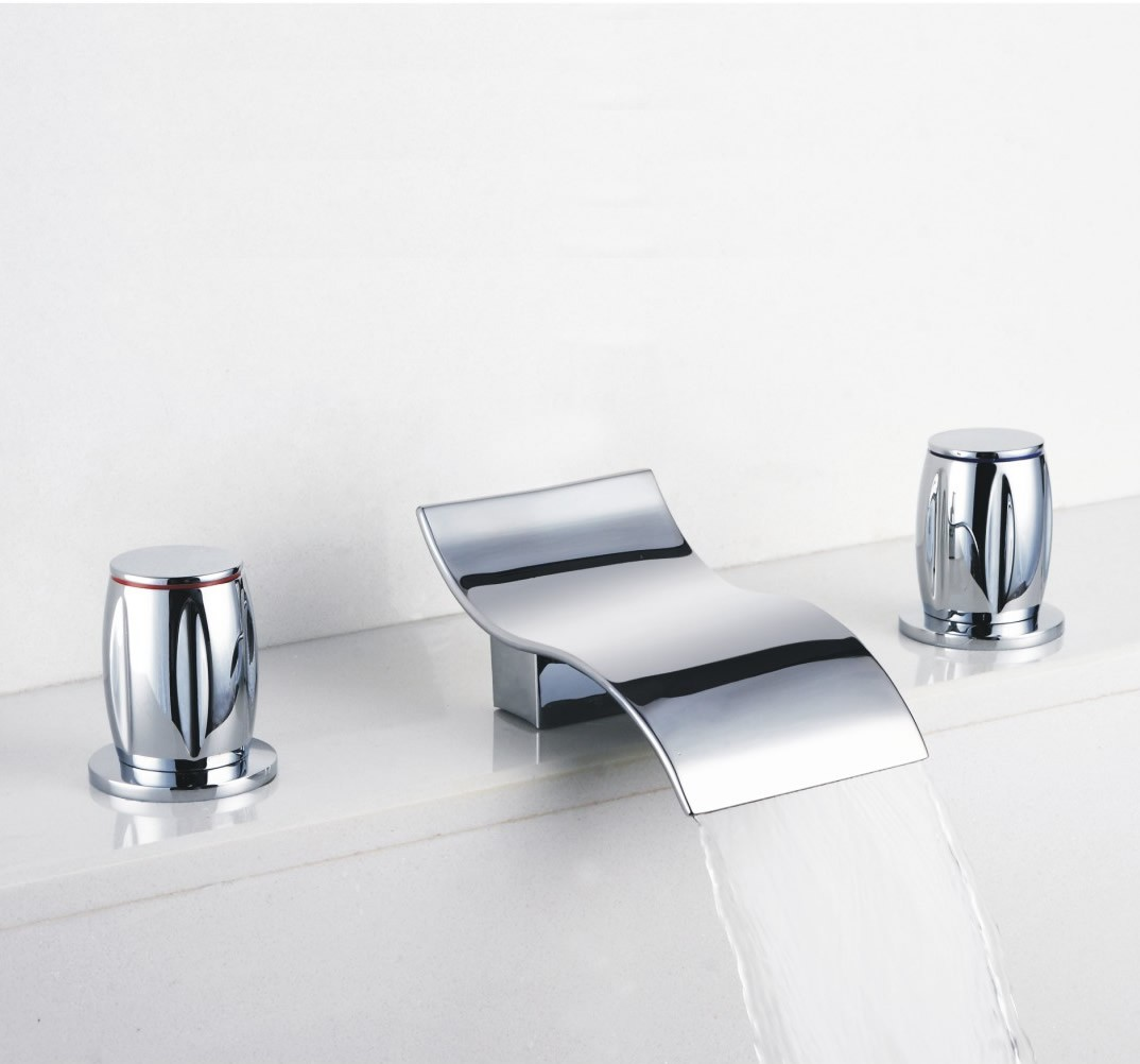 Contemporary Waterfall Bathroom Sink Faucet Chrome Finish Widespread F7709a