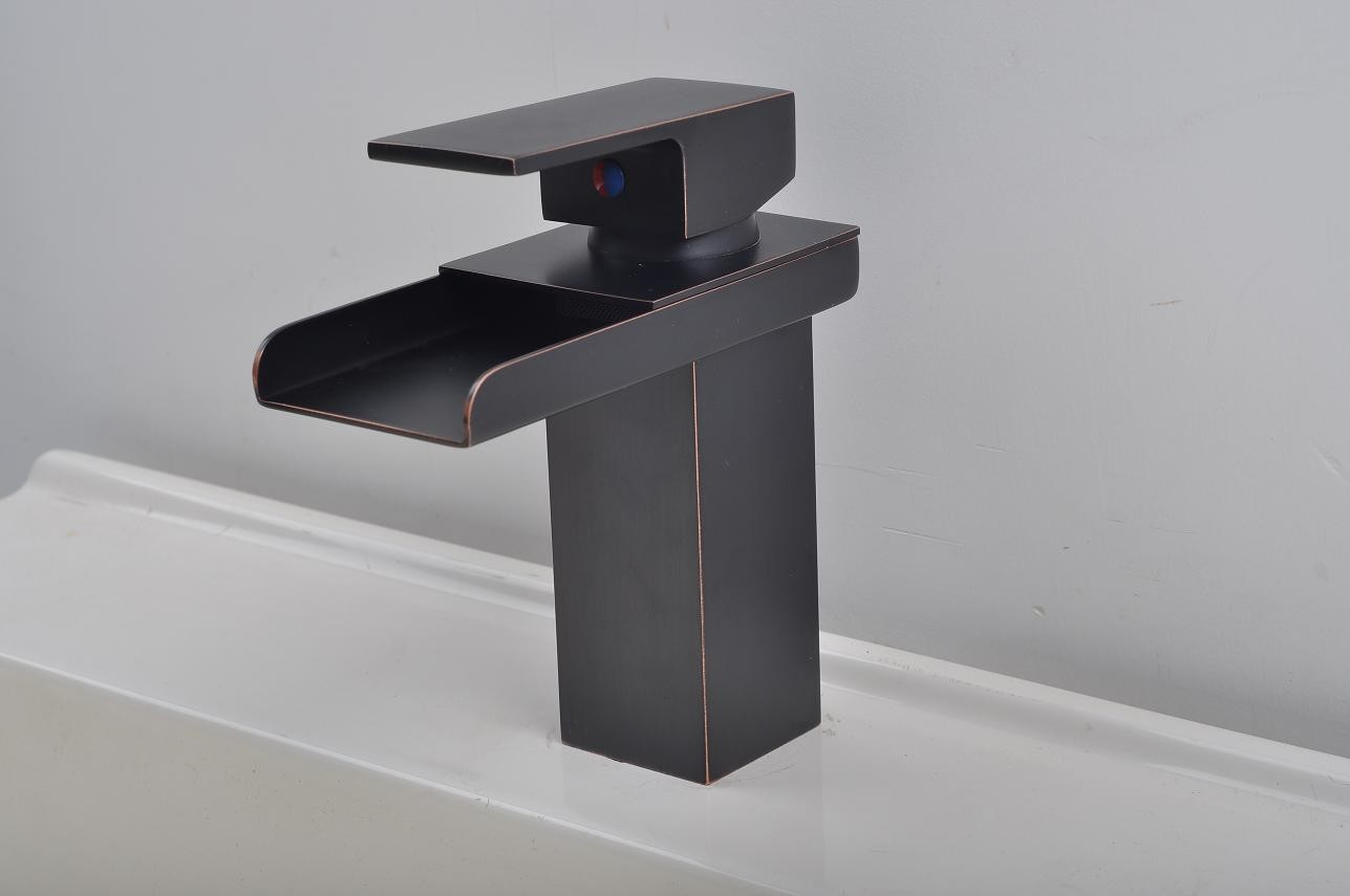 Bathroom Sink Faucet In Modern Style Single Handle Waterfall Oil Rubbed Bronze Fa0510b