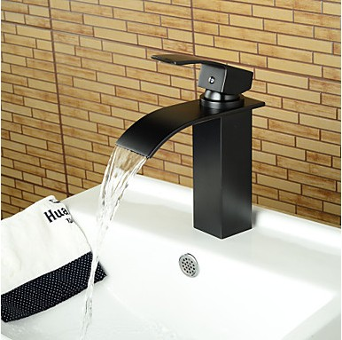 Contemporary Waterfall Oil Rubbed Bronze Bathroom Basin Faucet Black
